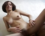 Eastern European Chick Borrowed an Artificial Dick To Please Her Hairy Pussy